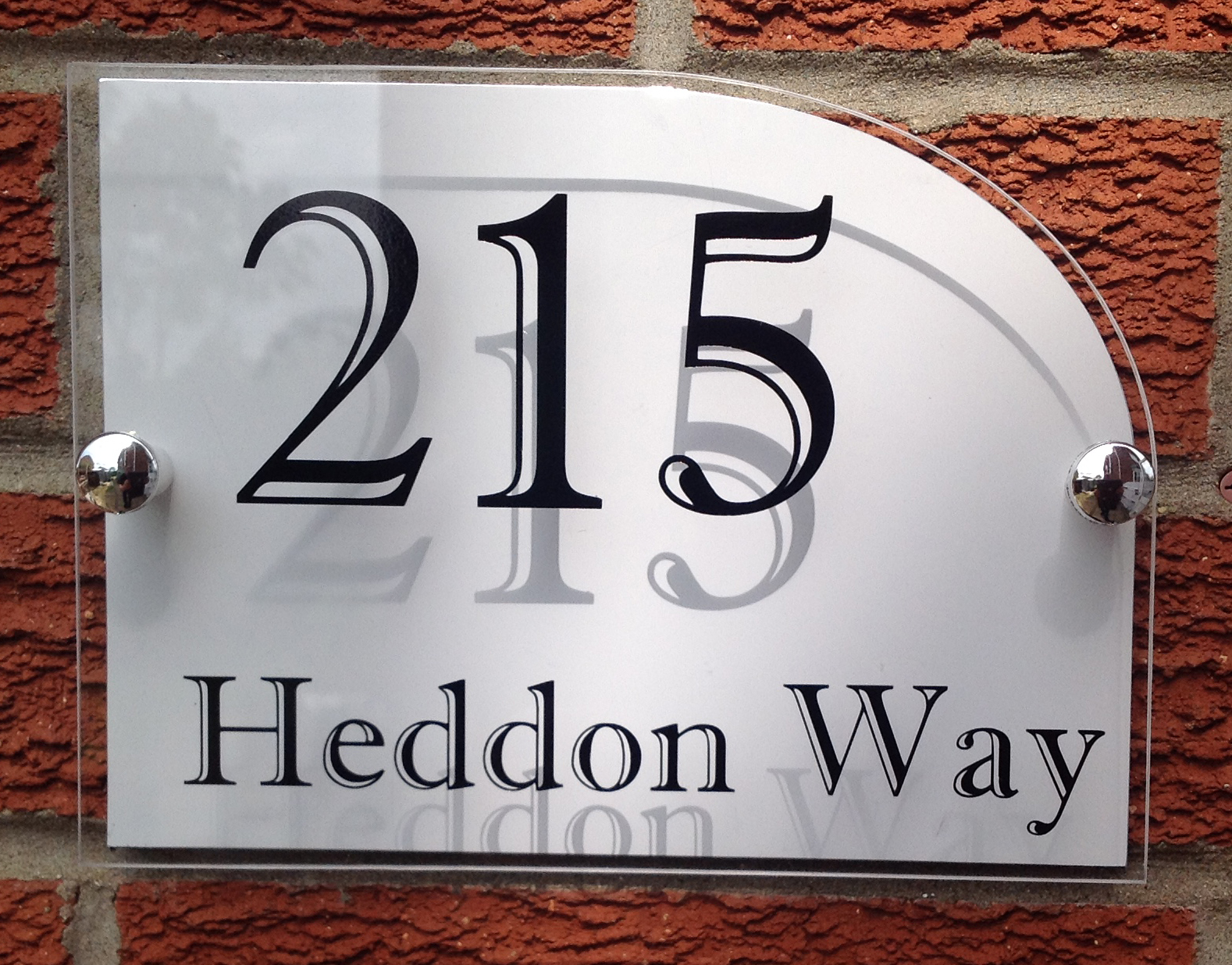 Modern house sign plaque quality acrylic aluminium backplate